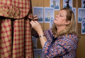 1701-35 075 1701-35 Mary Poppins Costume Deanne DeWitt works on the Mary Poppins dress created by the BYU Costume Shop for BYU's upcoming production of the musical. January 18, 2017 Photo by Jaren Wilkey/BYU © BYU PHOTO 2017 All Rights Reserved photo@byu.edu (801)422-7322