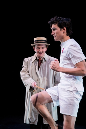 _E1_8847 Stephen Moore (L) as Sam Mussabini and Alex Diaz as Harold Abrahams in BYU's upcoming production of Chariots of Fire 1703-06 Chariots of Fire Play December 9, 2016 Photography by Nate Edwards/BYU © BYU PHOTO 2016 All Rights Reserved photo@byu.edu (801)422-7322