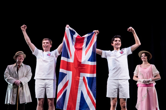 _E1_9075 Stephen Moore (L) as Sam Mussabini, Peter Lambert as Eric Liddell, Alex Diaz as Harold Abrahams, and Meg Flinders as Sybil in BYU's upcoming production of Chariots of Fire 1703-06 Chariots of Fire Play December 9, 2016 Photography by Nate Edwards/BYU © BYU PHOTO 2016 All Rights Reserved photo@byu.edu (801)422-7322