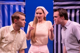 """1901-28 213 Antipholus of Ephesus (Stephen Coley, left) meets Antipholus of Syracuse (Caleb Andrus, right) in front of a shocked Adriana (Claire Eyestone). 1901-28 Comedy of Errors - PLAY BYU's Production of """"Comedy Of Errors"""" January 16, 2019 Photo by Jaren Wilkey/BYU © BYU PHOTO 2018 All Rights Reserved photo@byu.edu (801)422-7322"""