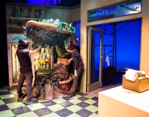 Getting the final Audrey II puppet in place.