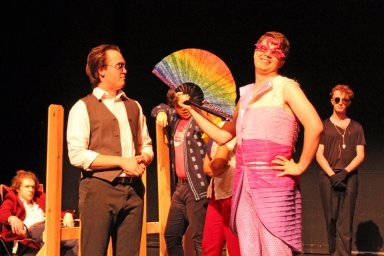 """Braxton as the Emperor in """"Doctor Faustus,"""" standing next to TMA major Caleb Andrus as Faustus."""